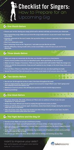 Checklist for Singers: How to Prepare for an Upcoming Gig http://takelessons.com/blog/singers-checklist-for-a-gig-z02?utm_source=social&utm_medium=blog&utm_campaign=pinterest