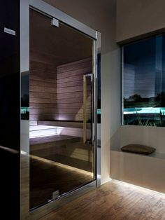 Elegant professional Sauna _ SweetSauna XL by Starpool Steam Room Shower, Sauna Steam Room, Sauna Room, Spa Design, House Design, Modern Saunas, Outdoor Sauna, Spa Interior, Luxury Spa