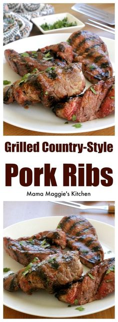 An easy recipe for that is perfect for summer BBQs a… Grilled Country-Style Ribs. An easy recipe for that is perfect for summer BBQs and outdoor cookouts. By Mama Maggie's Kitchen Pork Rib Recipes, Steak Recipes, Grilling Recipes, Grilling Ideas, Lamb Recipes, Salmon Recipes, Chicken Recipes, Mexican Food Recipes, Dinner Recipes