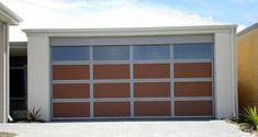 Aluminium frame with timber inserts and translucent Makrolon inserts. Custom Garage Doors, Garage Door Design, Custom Garages, Sectional Garage Doors, Laser Cut Panels, Design Your Own, Custom Design, Frame