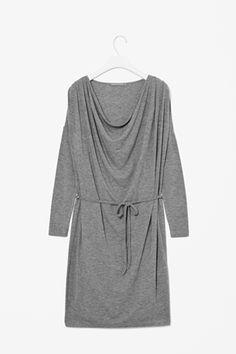 Wool jersey drape dress