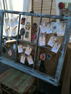 Add chicken wire to salvaged old window for retail store display or photographs, jewelry; cottage style; Upcycle, Recycle, Salvage, diy, thrift, flea, repurpose!  For vintage ideas and goods shop at Estate ReSale  ReDesign, Bonita Springs, FL