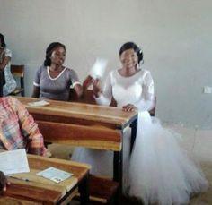 Newly Wedded Bride Writes Her HND Exam In Her Wedding Dress In Kaduna - http://www.streetsofnaija.net/2015/02/newly-wedded-bride-writes-her-hnd-exam-in-her-wedding-dress-in-kaduna/
