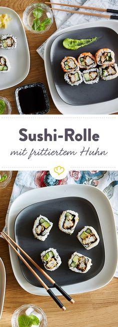 Tori-Kara-Roll – Sushi mit frittiertem Hühnchen - New Site Chicken Sushi, Fried Chicken, Japan Sushi, Asian Recipes, Ethnic Recipes, Party Snacks, Food Inspiration, Rolls, Tasty