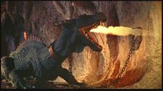 This is a great shot of the Fire Breathing Dragon in The 7th Voyage of Sinbad.