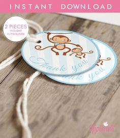 Instant Download Monkey Thank You Tags Blue and Brown Boy Monkey Gift Tags Monkey Birthday Party or Baby Shower Favor Tags by TppCardS #tppcards