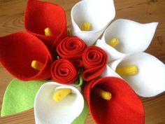 Felt Calla Lily & Rose Bouquet