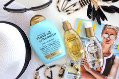 Favorite hair car products on Jeans And Roses Blog: Ogx Argan Oil Reneweing Shampoo, Weightless Dry Oil, Coconut Milk Anti-breakage Serum.