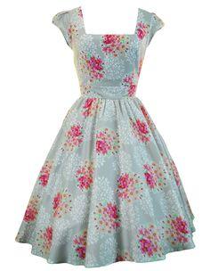 Lady V London Silver Grey & Pink Floral Swing Dress.... so lady-like....