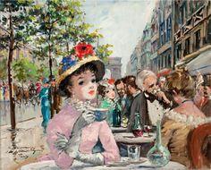 ✿Time For Coffee & Tea✿ At the Cafe de Paris by Francois Gerome