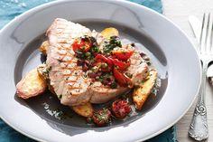 Tuna with roasted tomato, caper and olive salsa - Recipes - delicious.com.au Basa Fish Recipes, Tuna Recipes, Seafood Recipes, Roasted Tomato Salsa, Roasted Tomatoes, Seared Tuna, Baked Fish, Salsa Recipe, Kitchen Recipes