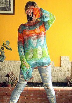 Lose stricken Pullover Sweater Grunge Hand gestrickte von MyAqua