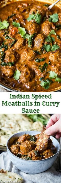 add rice and naan to these Indian Spiced Meatballs in Curry Sauce and you've got yourself an exciting and flavourful dinner!Just add rice and naan to these Indian Spiced Meatballs in Curry Sauce and you've got yourself an exciting and flavourful dinner! Curry Recipes, Pork Recipes, Cooker Recipes, Healthy Recipes, Rice Recipes, Meatball Recipes, Healthy Snacks, Vegetarian Recipes, Food Dinners
