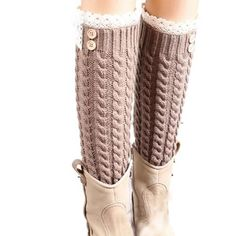 Women's Winter Knitted Leg Warmers/ Boot Socks with Lace Cuffs