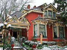 Orange and Cream Victorian Cottage House, Eureka Springs, Arkansas, AR Eureka Springs, Christmas Decorations For The Home, Christmas Images, Christmas Time, Merry Christmas, Xmas, Victorian Architecture, Victorian Christmas, England Christmas