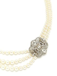 Glass Pearl Triple Strand Station Necklace by Ben-Amun at Gilt...perfect for wedding
