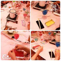 夜の部です(n)η 昼の部とはまた変わってハードな配色の子も #cerisestore #workshop #candle