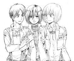 Eren , Mikasa la acosadora y Armin.