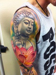 Watercolor Guys Lotus Flower Buddha Full Sleeve Tattoo Design