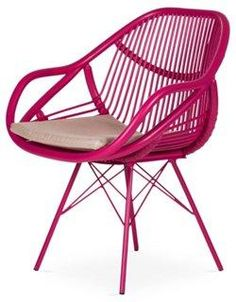 Stockholm Rattan Armchair, Hibiscus Pink -- Generous curves and sleek, straight lines come together in this masterfully crafted chair. An exuberant hibiscus-pink finish and a matching upholstered cushion will bring a refreshing element of color to any room. Cushion attaches with snaps.