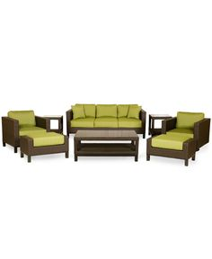 Belize Outdoor 8 Piece Seating Set: 1 Sofa, 1 Lounge Chair, 1 Swivel Chair, 1 Coffee Table, 2 Ottomans and 2 End Tables