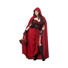 womens dark red riding hood plus size costume size 70 - Size 26 Halloween Costumes