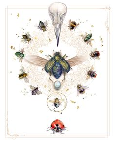 Bits of Divinity by Stephanie Pui-Mun Law Lady Bug, Bee Art, Bees Knees, Illustrators, Watercolor Paintings, Watercolours, Fantasy Art, Art Drawings, Abstract Art