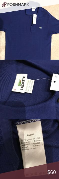 NWT recent style! Lacoste polo Brand new. Recently purchased. Never worn navy blue Lacoste polo. Selling for my brother because it no longer fits him. Offers welcome! Bundle to save! Lacoste Shirts Polos