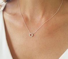 Silver charm necklace Tiny circle necklace Circle by HLcollection