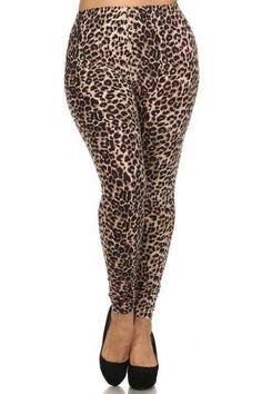 Plus Size High Waist Animal Printed Leggings With Elastic Waist
