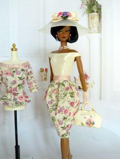 OOAK Spring Fashion for Silkstone/Vintage Barbie Barbie Dress, Barbie Clothes, Fashion Royalty Dolls, Fashion Dolls, Barbie Wardrobe, Diva Dolls, Beautiful Outfits, Beautiful Dolls, Vintage Barbie Dolls