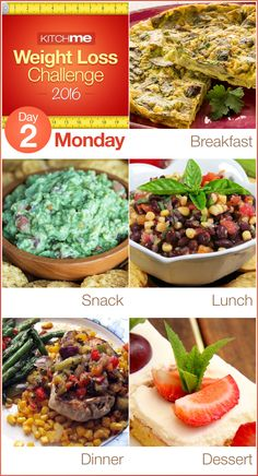 Day 2 Meal Plan Recipes – Weight Loss Challenge for Weight Watchers - Spinach Artichoke Pie, Guacamole, Black Bean Corn and Salsa Dip, Mexican Pork Chops, and Sunshine Cake
