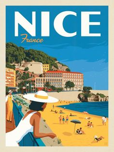 Anderson Design Group – World Travel – France: NiceYou can find Vintage travel and more on our website.Anderson Design Group – World Travel – France: Nice Retro Poster, Art Deco Posters, Room Posters, Vintage Travel Posters, Poster Prints, Vintage Design Posters, Vintage Postcards, Vintage Italian Posters, French Posters