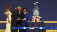President Donald J. Trump & Vice President Mike Pence used a sword to cut a celebratory cake at the Armed Services Ball.