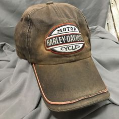 Destroyed Trashed Harley Davidson Patch Cap Hat Discolored Faded Adjustable OS #HarleyDavidson #BaseballCap