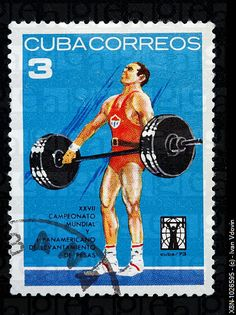 tattoo idea - Weightlifting, postage stamp, Cuba, 1973
