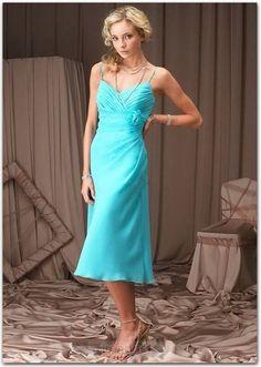 Lovely Sheath / Column Straps Tea-length Chiffon Blue Bridesmaid Dresses - $103.99 - Trendget.com
