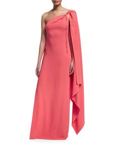 One-Shoulder+Cape+Gown++by+Rachel+Zoe+at+Neiman+Marcus.