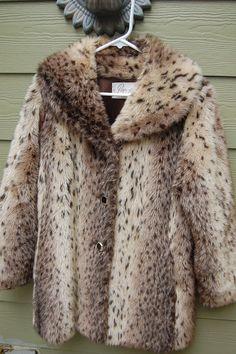 Vintage 50s 60s 70s Pettys Furs House of Furs Animal Print Faux Fur Coat Jacket Size M/L. $65.00, via Etsy.