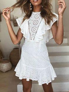 fd23c83552 Ruffled Boho Dress White  35 PICK UP TODAY or FREE SHIPPING White Boho Dress