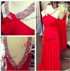 Custom Make Rhinestone Chiffon Full Floor Length Prom Dress Bridesmaid Dress Simple Bridesmaid Dress Long Prom Dress Prom Wedding Party