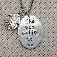The Sea Calls To Me Necklace With Charm in Aluminum with choice of one of 10 different Tibetan silver or brass charms.