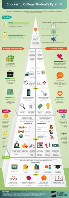 College Students Success Pyramid- We've all heard of the food pyramid for health, but if it's academic success you're after, check out the student success pyramid and see what you can do to improve your educational experience. #infographic