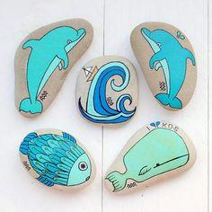 #PaintedSeaStones by KYMA #Dolphins #Fish #Whale #Wave - http://kymastyle.wordpress.com - http://dawanda.com/shop/kymastyle