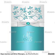 Aqua-marine and Silver Monogrammed Invitation II