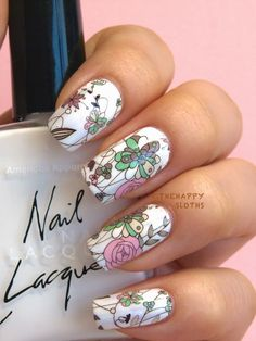 The Happy Sloths: Floral Manicure: A Comprehensive Guide to Full Nail Water Decals with Tutorial