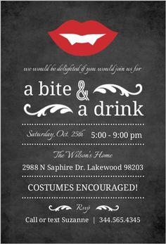 Vampire Chalkboard Halloween Party Invitation                                                                                                                                                     More