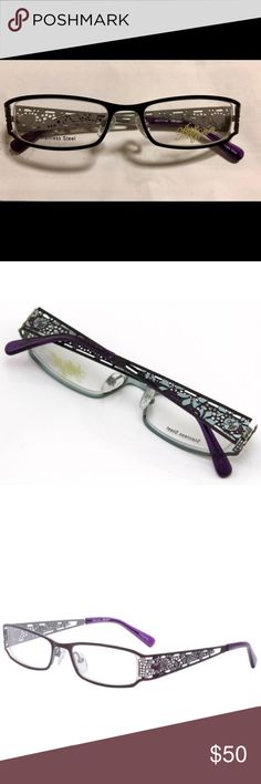 Apple Bottoms Womens Glasses-AB702 Purple Tranquil beauty has fallen upon these new luxurious Apple Bottoms frames. These plum purple colored metal frames have been skillfully laser etched to create gorgeous floral cutout designs on the temples. Plastic ends have been added to these durable, strong frames for comfort. Set yourself apart from the crowd in these trendy Apple Bottoms eyewear frames.  Comes with case and cloth Apple Bottoms Accessories Glasses