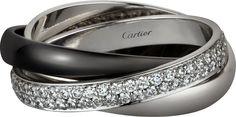 Trinity de Cartier ring, ceramic, SM White gold, ceramic, platinum, diamonds
