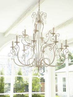 This transitional chandelier from Quorum International is a part of the Ariel collection and comes in a persian white finish. Chandelier Lighting, Crystal Chandeliers, Transitional Chandeliers, Ariel, Persian, Home Improvement, Ceiling Lights, Crystals, Inspiration